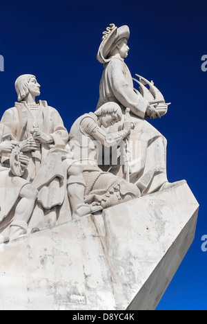 Portugal, Estremadura, Lisbon, Padrao dos Descobrimentos Carving of Prince Henry the Navigator leading the Discoveries - Stock Photo