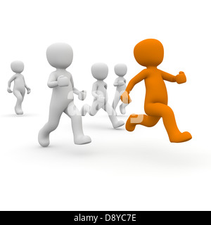 The orange character runs away from the white characters. - Stock Photo