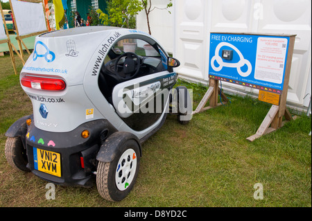 Charging point for smart car at Hay Festival 2013 Hay on Wye Powys Wales UK - Stock Photo