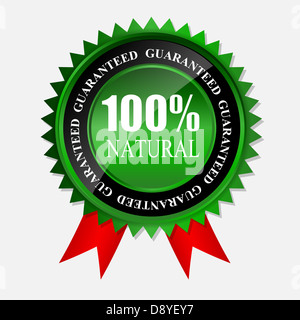 100% natural green label isolated on white.vector illustration - Stock Photo