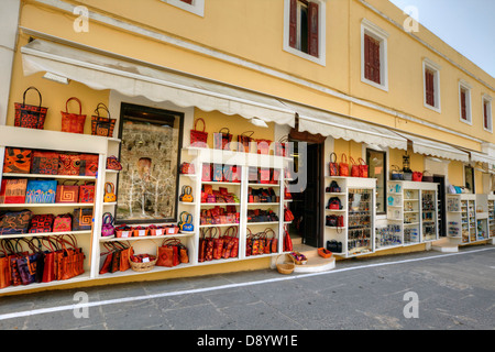 Elegant row of shops in Rhodes old town. - Stock Photo