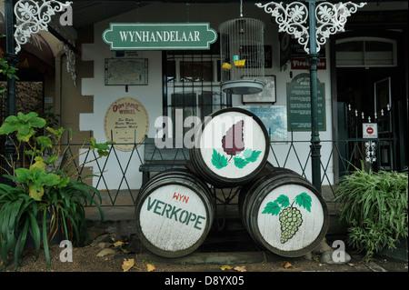 Stellenbosch, Western Cape, South Africa, painted wine barrels outside Oom Samie se Winkel, landmark souvenir shop - Stock Photo