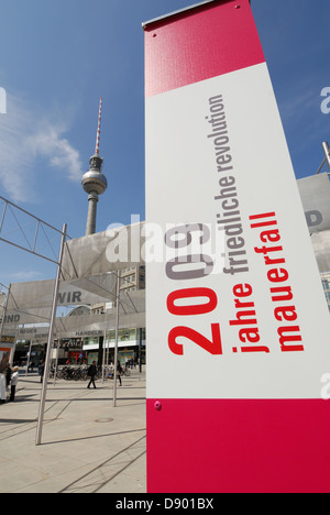 Exhibition on Alexanderplatz commemorating 20 years since the fall of the Berlin wall Berlin Germany. - Stock Photo