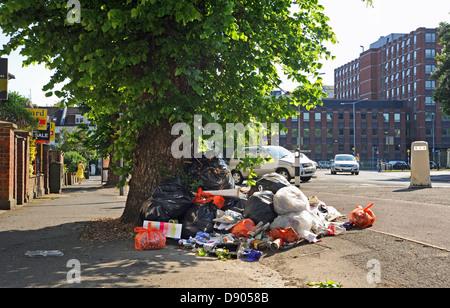 Brighton UK 6th June 2013 - Rubbish remains uncollected on Stanford Avenue in the Preston Park area of Brighton - Stock Photo