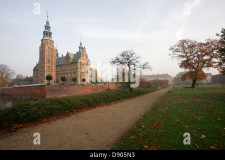Rosenborg Slot (Rosenborg castle) housing a museum and a treasury for royal regalia and jewels, Kongens Have, Copenhagen - Stock Photo