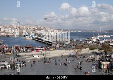 GALATA TOWER & GOLDEN HORN BEYOGLU ISTANBUL TURKEY 11 November 2012 - Stock Photo
