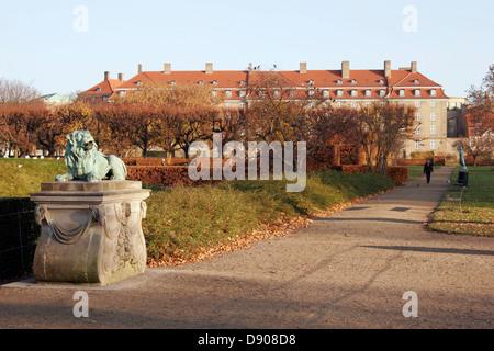 The lion statue in the park called Kongens Have, Copenhagen, Denmark - Stock Photo