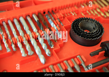 Drill bits inside a tool case - Stock Photo