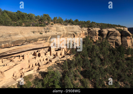 USA, Colorado, Mesa Verde National Park (UNESCO Heritage), Cliff Palace dwellings - Stock Photo