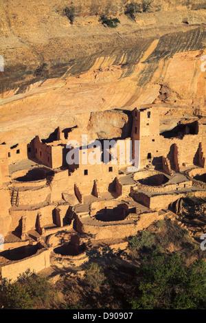 USA, Colorado, Mesa Verde National Park (UNESCO Heritage), Cliff Palace dwellings - Stock Photo