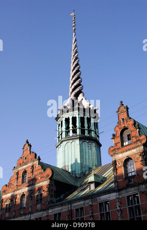 Ornate spire of Børsen (Borsen), the stock exchange building and the oldest in Europe chamber of commerce, Copenhagen, - Stock Photo