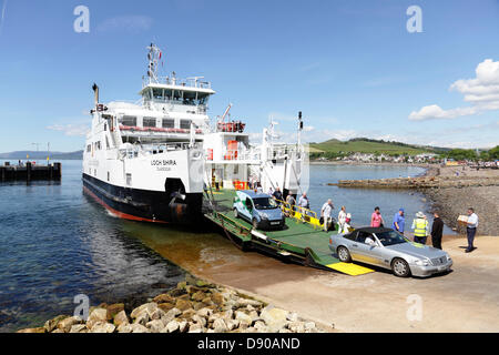 Largs, Ayrshire, Scotland, UK, Friday, 7th June 2013. Passengers disembarking the Caledonian MacBrayne Ferry Loch - Stock Photo