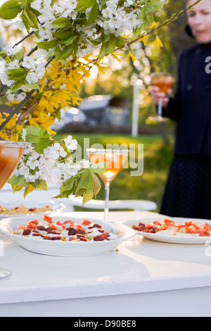 Laid table outdoors during summer time, Sweden. - Stock Photo