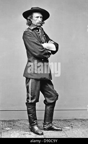 GEORGE ARMSTRONG CUSTER (1839-1876) United States Army officer as a brevet-major about 1865 - Stock Photo