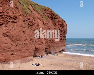 Langstone Rock, Permian red sandstone cliffs, Dawlish, Devon, UK 2013 - Stock Photo
