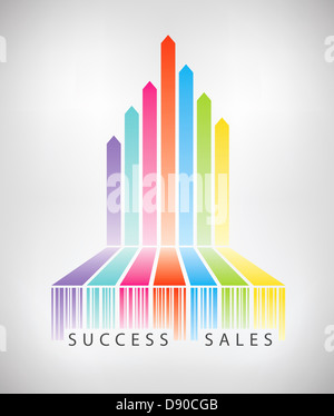 Vector concept illustration of rainbow arrows up from colorful barcode showing successful e-commerce sales. - Stock Photo