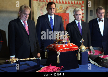 Czech president Milos Zeman (L) attend the display ceremony of the Czech Crown Jewels in the Prague Castle on May - Stock Photo