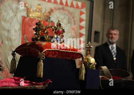 Display ceremony of the Czech Crown Jewels in the Prague Castle on May 9, 2013. - Stock Photo