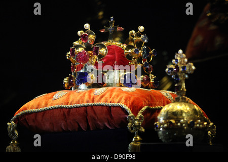 The Crown of Saint Wenceslas and the Royal Apple displayed at the exhibition of the Czech Crown Jewels on May 10, - Stock Photo