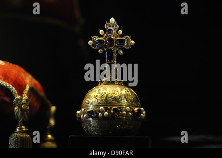 The Royal Apple displayed at the exhibition of the Czech Crown Jewels on May 10, 2013. - Stock Photo