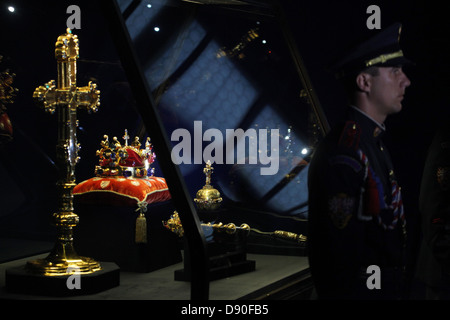 The Czech Crown Jewels guarded by the Prague Caste Honour Guard at the exhibition of the Czech Crown Jewels on May - Stock Photo