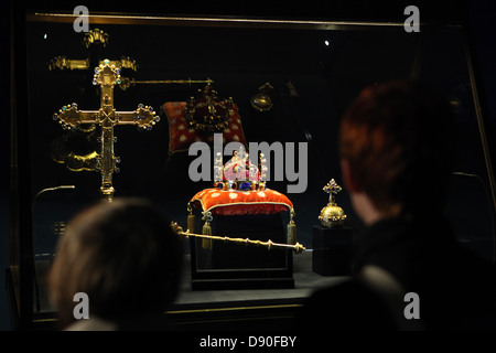 First visitors examine the Czech Crown Jewels on May 10, 2013. - Stock Photo