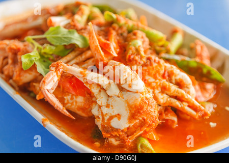 crab in red curry paste is food of Thailand - Stock Photo