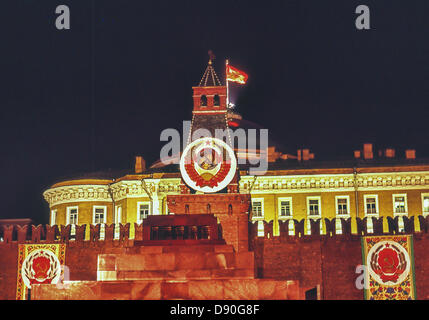 May 1, 1987 - Moscow, RU - Illuminated at night in honor of May Day, a head-on view of the top of the Lenin Mausoleum. - Stock Photo