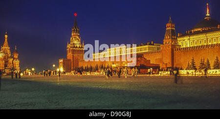 May 1, 1987 - Moscow, RU - Illuminated at night in honor of May Day, Muscovites and tourists cross Red Square, the - Stock Photo