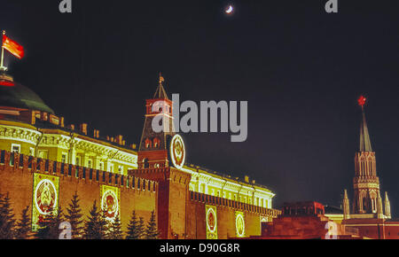 May 1, 1987 - Moscow, RU - Illuminated at night in honor of May Day, behind the Kremlin Wall, at left, is the Old - Stock Photo