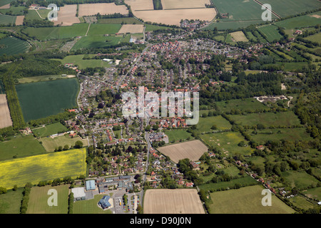 aerial view of the village of Reepham in Norfolk, UK - Stock Photo
