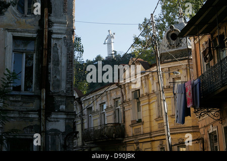 The statue of  Kartlis Deda (Mother Georgia), overlooking city center of Tbilisi, the capital of Georgia, Caucasus - Stock Photo