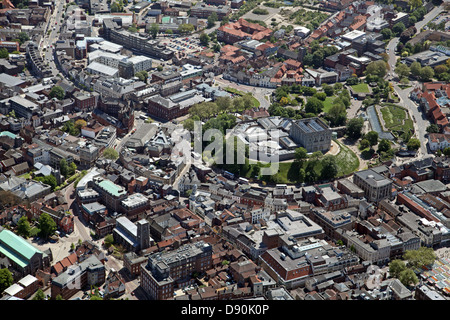 aerial view of Norwich city centre - Stock Photo