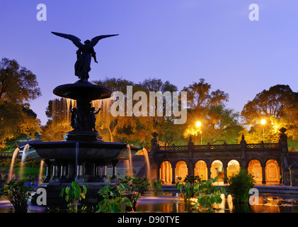 Bethesda Terrace and fountain in New York City. - Stock Photo