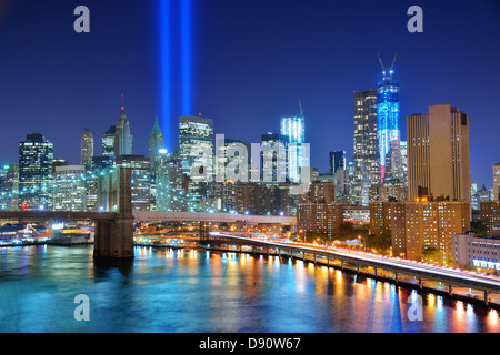 Tribute in Light memorial for September 11, 2001 in New York City. - Stock Photo