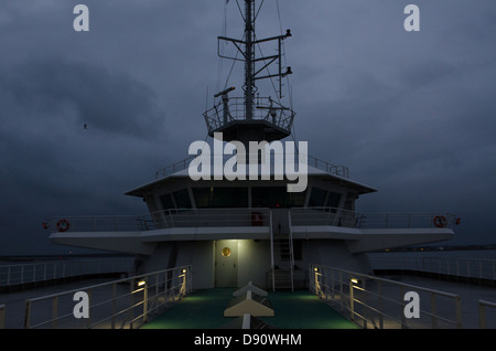 Ferry control tower at night - Stock Photo