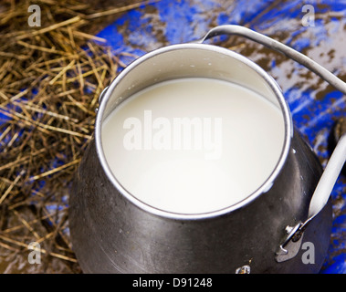 Jug of raw milk, close-up - Stock Photo
