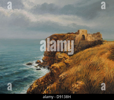 An oil painting on canvas of Cape Kaliakra in a winter storm, with heavy overhanging clouds, strong winds and huge - Stock Photo
