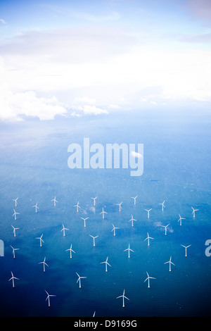 Aerial view of wind turbines in sea - Stock Photo
