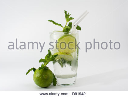Vjew of the Cuban Mojito. One of the most popular coctails in the tropical island. - Stock Photo