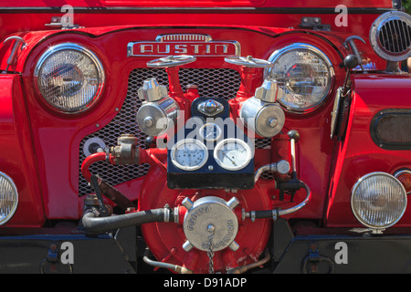 Front grill of 1960 Austin Gypsy motor car used as a fire engine - Stock Photo