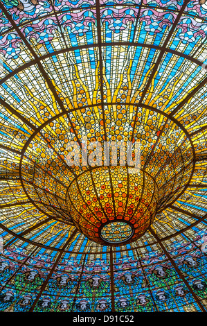 Ceiling in Music Palace, Barcelona, Spain - Stock Photo
