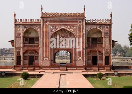 Entry gate from river yamuna to Jewel box or Baby Taj, Mausoleum of Etimad-ud-Daulah Agra India - Stock Photo