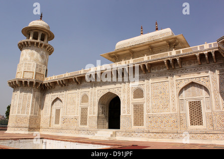 Jewel box or Baby Taj, Mausoleum of Etimad-ud-Daulah Agra India - Stock Photo