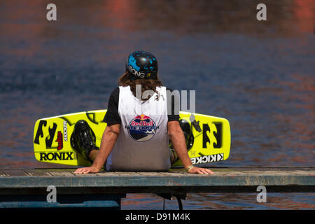 "Liverpool, UK 8th June, 2013. Marc Rossiter awarded ""Rail Rider of the Year"" at the Transworld wake awards in Orlando - Stock Photo"