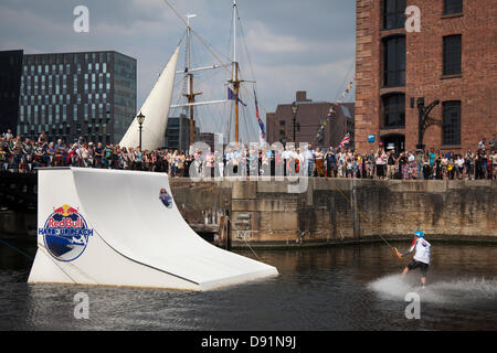 Liverpool, UK 8th June, 2013. Ski Jump and wakeboarder at the Red Bull Harbour Reach 2013, an inaugural event where - Stock Photo