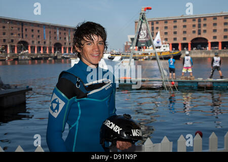 Liverpool, UK 8th June, 2013. Ryan Peacock winner of the  British Wakeboard Title seen here at the Red Bull Harbour - Stock Photo