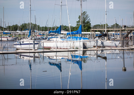 Sailboat marina after heavy rains float the boats again after being high and dry during drought in Oklahoma City, - Stock Photo