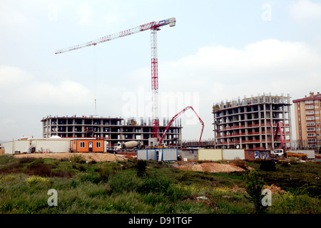 The expansion of urban Turkey, new blocks of flats being built in Pendik, a suburb of Istanbul, April 2013 - Stock Photo
