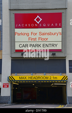 Entrance to Jackson Square parking building, The Causeway, Bishop's Stortford, Hertfordshire, England, United Kingdom - Stock Photo